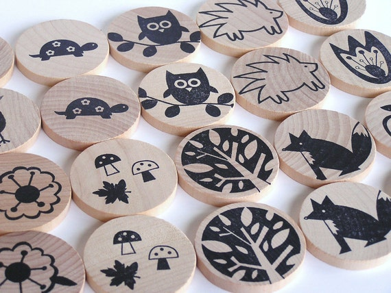Waldorf-Natural Wood Toy- MATCH ME- Woodland Forest- Eco Friendly Memory Game