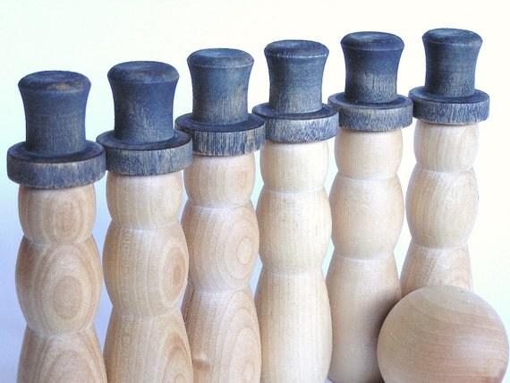 Natural Wood Toy-  The Original SNOW MAN  Bowling Set