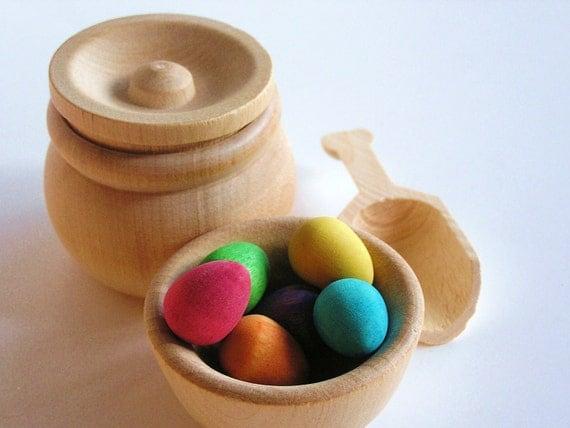 Montessori- Waldorf- Educational Natural Wood Toy- MAGIC BEANS- Scoop n Transfer Game