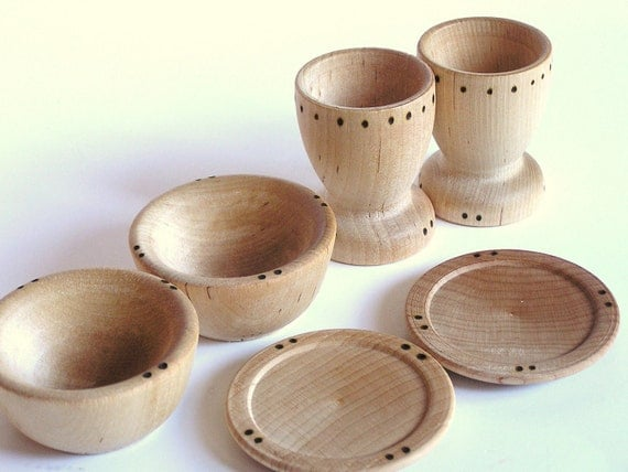 Items similar to waldorf wooden toy dishes cups plates for Kitchen set plates