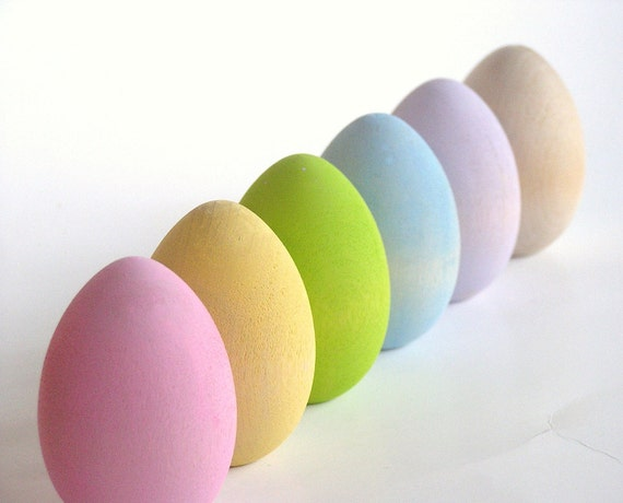Natural Wood Toy- Pastel Easter Eggs- Waldorf- Montessori- Nature Table- Pretend Kitchen-Front Page Pick