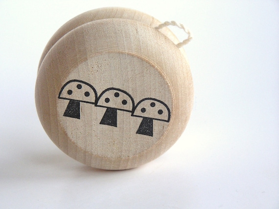 Eco- Friendly-Game- Kids- Wood-Wooden -Waldorf- Kids -Toy-Natural Wood Toy- Toadstool Yo- Yo- Easter Basket- Birthday-Wedding- Party Favor