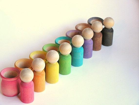 Waldorf-Wooden Toy -Peek-A-Boo Men - RAINBOW - Education Montessori Toy