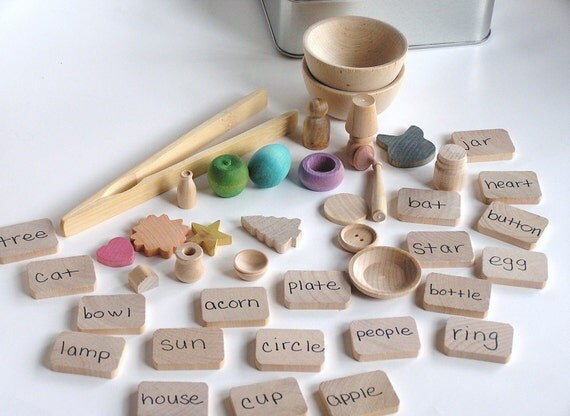 Wooden -Waldorf- Kids -Toy-Natural Wood Toy- TEACH ME System- Montessori- Waldorf- Word and Transfering Educational Game
