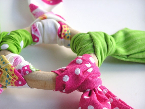 Wood n Fabric Ring Baby Teething Relief Toy- BITE ME- DOTTY Dots