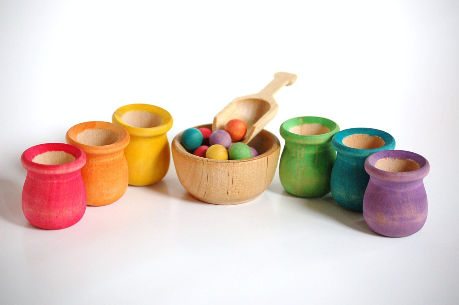 Waldorf and Montessori Natural Wood Toy SCOOP & SORT by applenamos