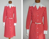 Vintage 70s Deadstock Nelly Don Polka Dot Dress Size 8 10