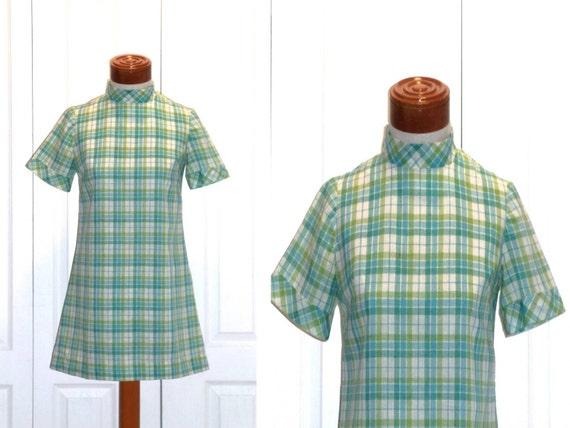 Vintage Aqua Lime 60s Mini Dress Small Hippie Boho XSmall