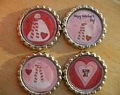 Snowman Valentine Magnets