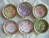 BFF Girly Bottle Cap Magnets