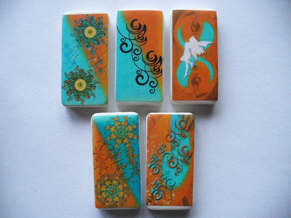 Orange & Aqua Abstract Domino Magnets