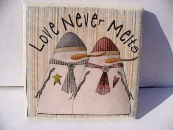 Love Never Melts Snowman Coaster in beige