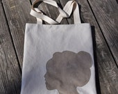 Silhouette Tote Bag Canvas and Suede