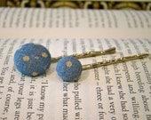 Fabric Button Hair Pins Blue Polka Dots