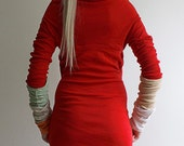 """Red long sleeve mini dress from Recycled.lv collection """"T-Unika"""" 13"""