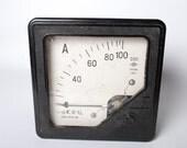 Vintage huge Ammeter, Electrical test equipment. Measuring instrument. Black