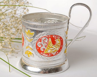Vintage Russian metal tea glass holder.
