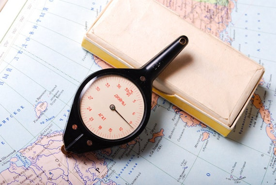 Vintage opisometer, Curvimeter, from Soviet union. Map measurer
