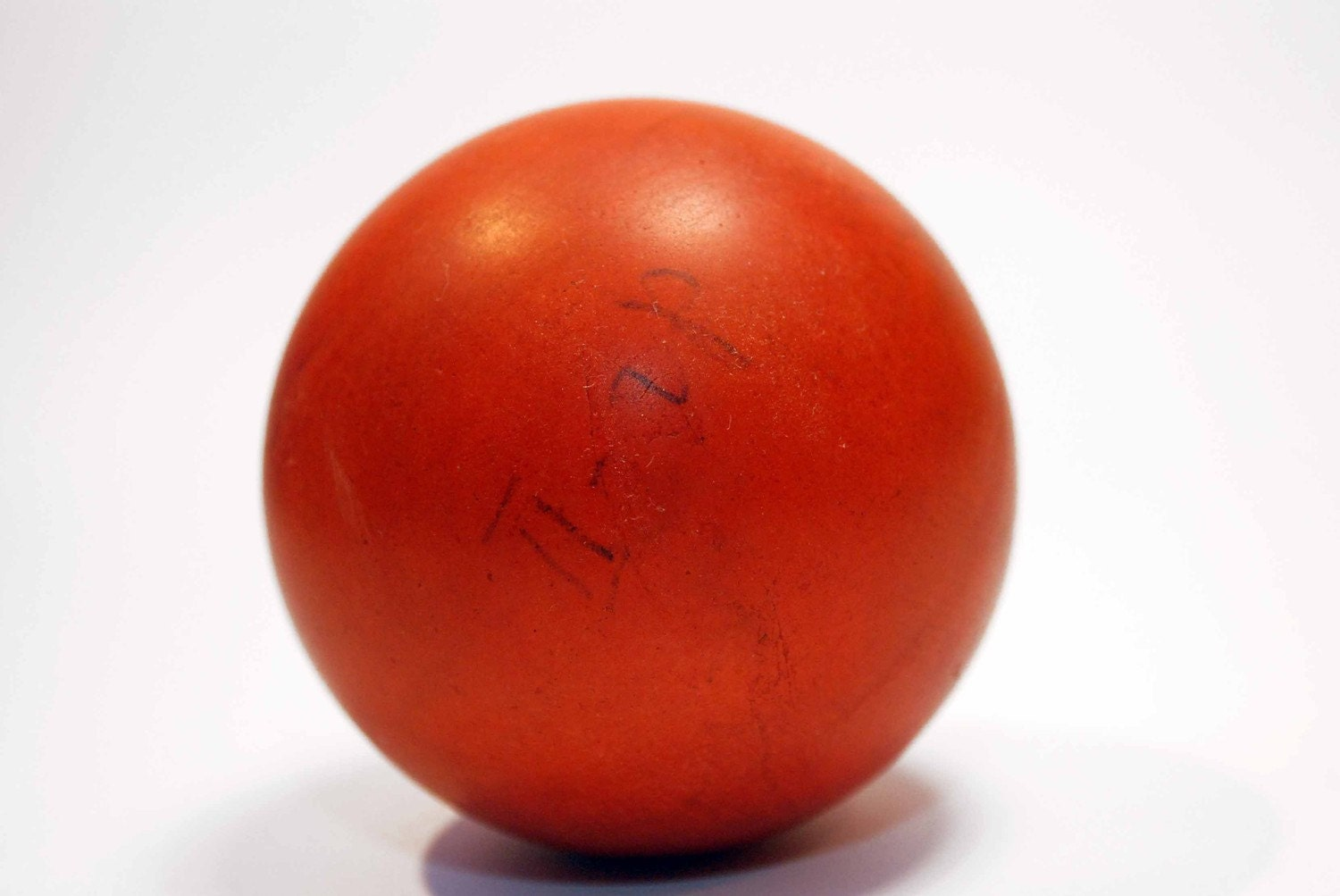 Red Ball Toy : Vintage rubber hand ball toy brick red