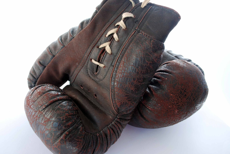 Vintage Boxing Gloves Leather Dark Brown Adult By Skylynx