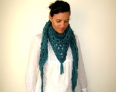 Turquoise Scarf Shawl Hand Knitted