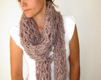 Oatmeal Biege Hand Knitted Womens Scarf Shawl