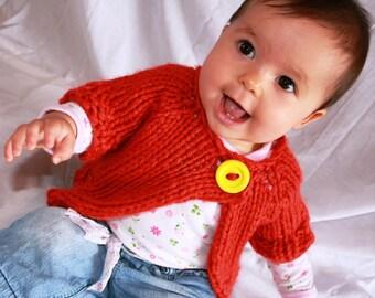 Hand Knitted Baby Bolero Shrug in Pumpkin