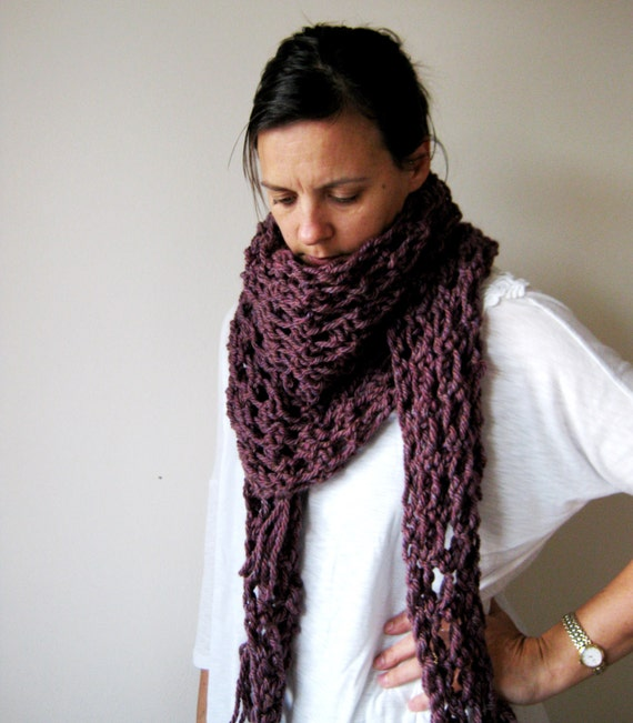 Hand Knitted Womens Scarf in Damson Purple