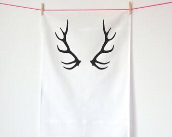 Deer Antlers / Screen printed tea towel