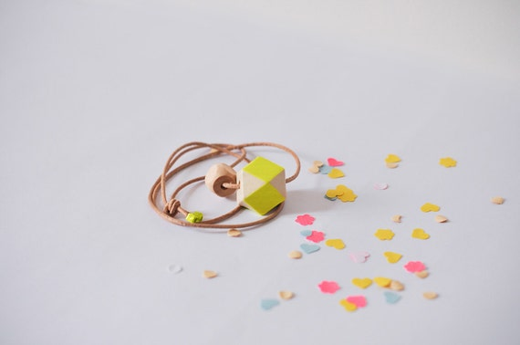 Geometric wooden bead necklace .  Neon yellow handpainted