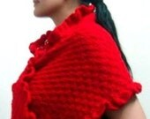 Knit Scarf Shawl Pattern, Crochet Edges and Flower, 45