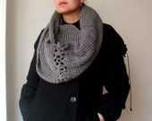 PATTERN Knit Infinity Circle Scarf Cowl Neck Warmer, with Crochet Flowers, 16