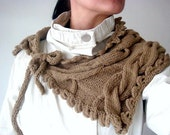 PDF PATTERN Knit Cabled Neckwarmer Cowl Scarflette Wrap with Ties, 27