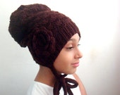 Knit Slouchy Hat, Crochet Large Flower, Knitting and Crocheting PDF Pattern, Knit Beanie Hat