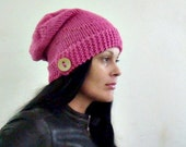Knit Slouchy Hat Pattern, Button up Hat Knitting Pattern, 55