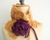 Crochet PDF PATTERN Neckwarmer Cowl Scarflette with Crochet Flower 23