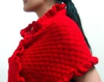 Knit Scarf Pattern, Shawl Pattern, Crochet Edges and Flower, 45