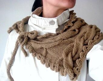 Knit Cabled Neckwarmer Pattern, Knit Cowl Pattern, Scarflette Knitting Pattern, Knit Wrap with Ties Pattern, 27