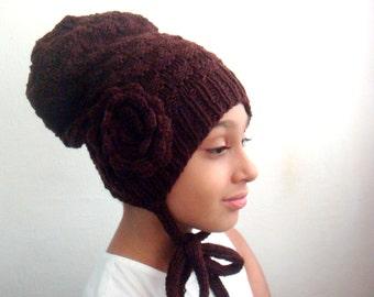 Knit Slouchy Hat Pattern, Crochet Large Flower Pattern, Knitting and Crocheting Pattern, Knit Beanie Pattern, Hat Knitting Pattern