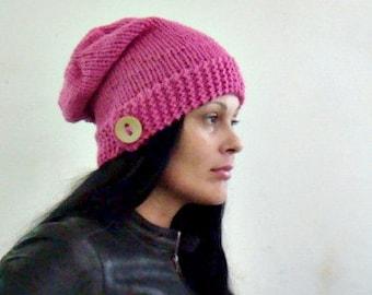 Knit Slouchy Hat Pattern, Button up Hat Knitting Pattern, Knit Beanie Pattern, 55