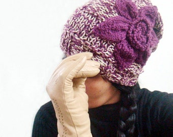 Knit Slouchy Hat Pattern, Beanie Knitting Pattern, Hat with Flower