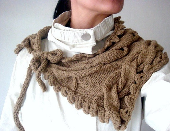 PATTERN Knit Cabled Neckwarmer, Knit Cowl, Scarflette, Wrap with Ties, 27