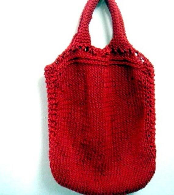 Knit Tote Pattern Grocery Shopping Bag Knitting Patter