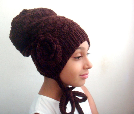 Knitted Slouchy Hat Crochet Large Flower Knitting and Crocheting PDF Pattern