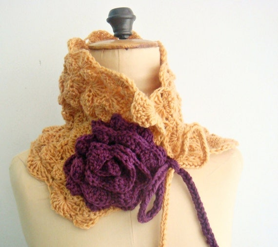 Crochet Cowl Pattern, Crochet Neckwarmer Pattern,  Scarflette Crochet Patterb, Crochet Flower Pattern, 23
