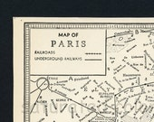 Paris Map Vintage 1940s City Streets of Paris France - The City of Light - Eiffel Tower - Notre Dame - Louvre - Seine River - Moulin Rouge