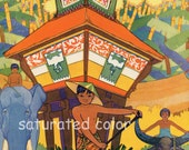 Siam Thailand Thai Asian Children - Land of the Elephant - 1931 Beautiful Children's Illustration Print - Asian Temple - Water Buffalo