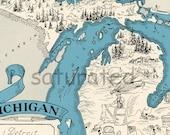 Michigan Map - Vintage - High Res DIGITAL IMAGE Picture Map - Retro Map Art - Charming & Fun - Ann Arbor - Grand Rapids - Lansing - Flint