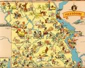 Missouri Map ORIGINAL 9 X 13 Vintage 1930s Antique Picture Map - Ruth Taylor White -  Kansas City St. Louis Springfield Columbia Souvenir