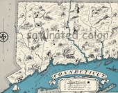 Connecticut Map Vintage - Map Art - High Res  DIGITAL IMAGE of a 1930s Vintage Picture Map - Turquoise Aqua - Charming & Fun